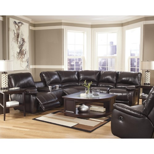 Signature Design By Ashley Capote Durablend Chocolate Reclining Living Room Group Godby