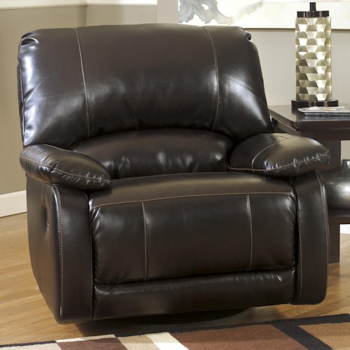 Signature Design by Ashley Capote DuraBlend® - Chocolate Contemporary Brown Bonded Leather Match Swivel Glider Recliner