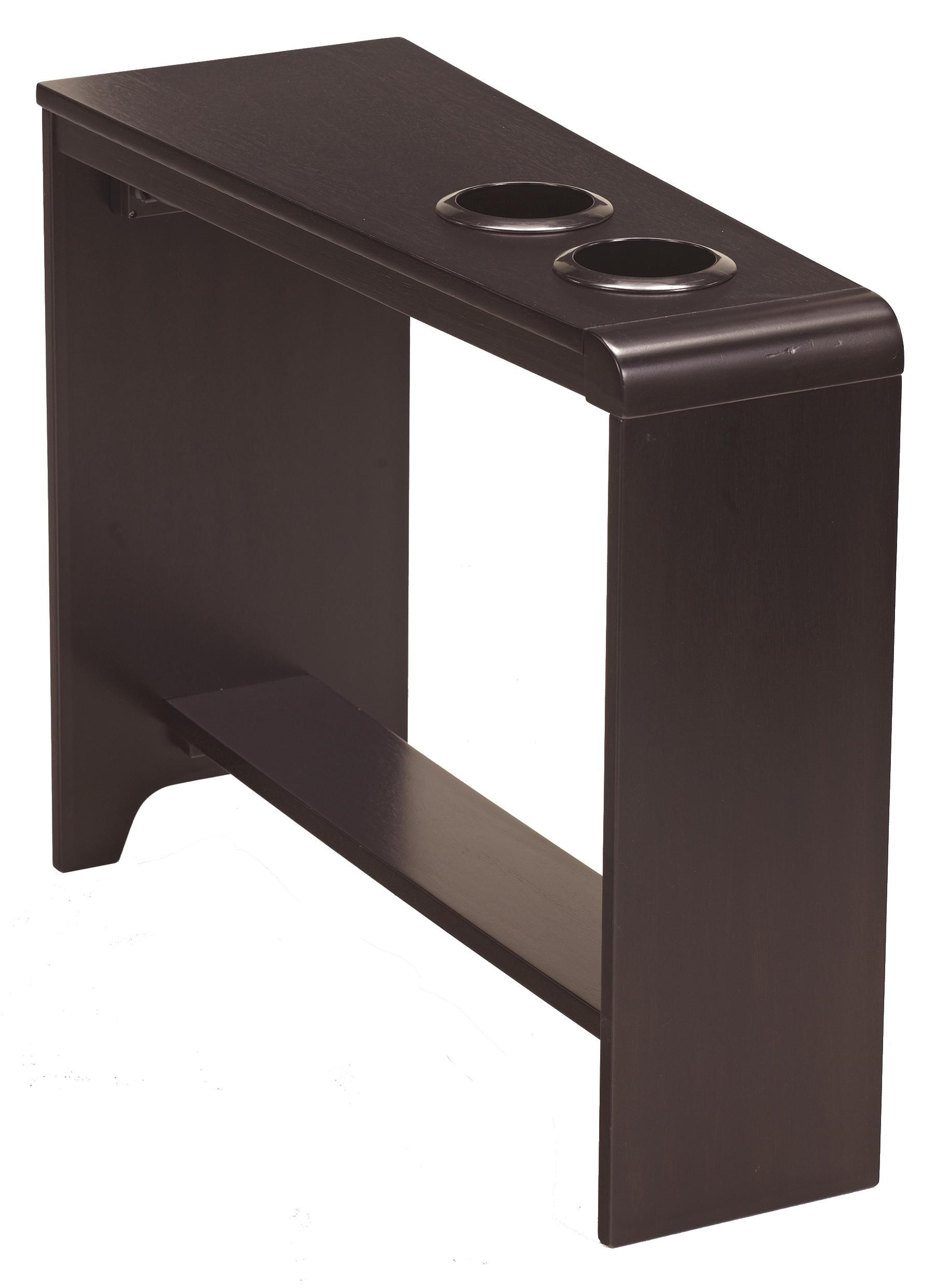 Signature Design By Ashley Carlyle Chair Side End Table With 2 Cup Holders,  Powerstrip,
