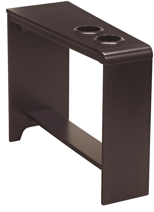 Signature Design by Ashley Carlyle Chair Side End Table with 2 Cup Holders, Powerstrip, & USB Charging