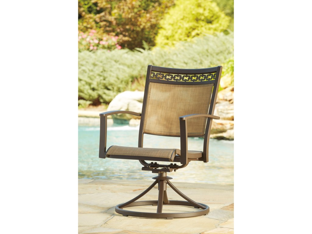 Signature Design by Ashley CarmadeliaSet of 2 Outdoor Sling Swivel Chairs