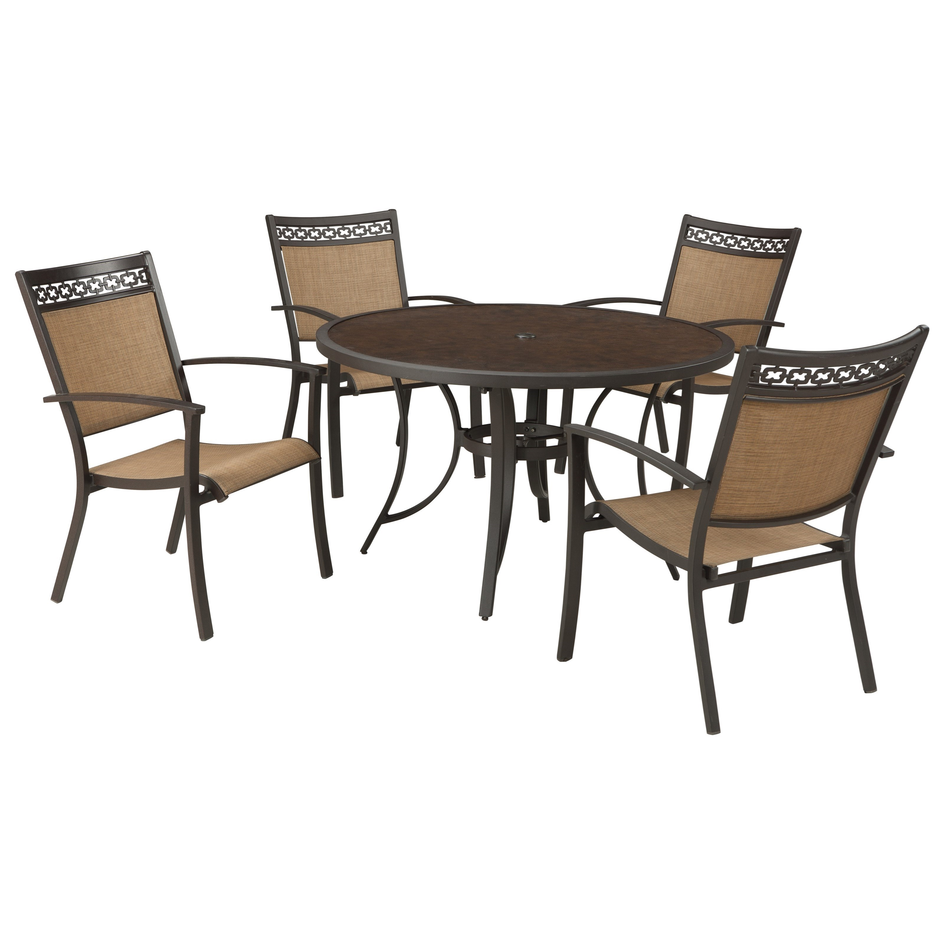 Signature Design By Ashley Carmadelia Outdoor Round Dining Table Set   John  V Schultz Furniture   Outdoor Dining Sets