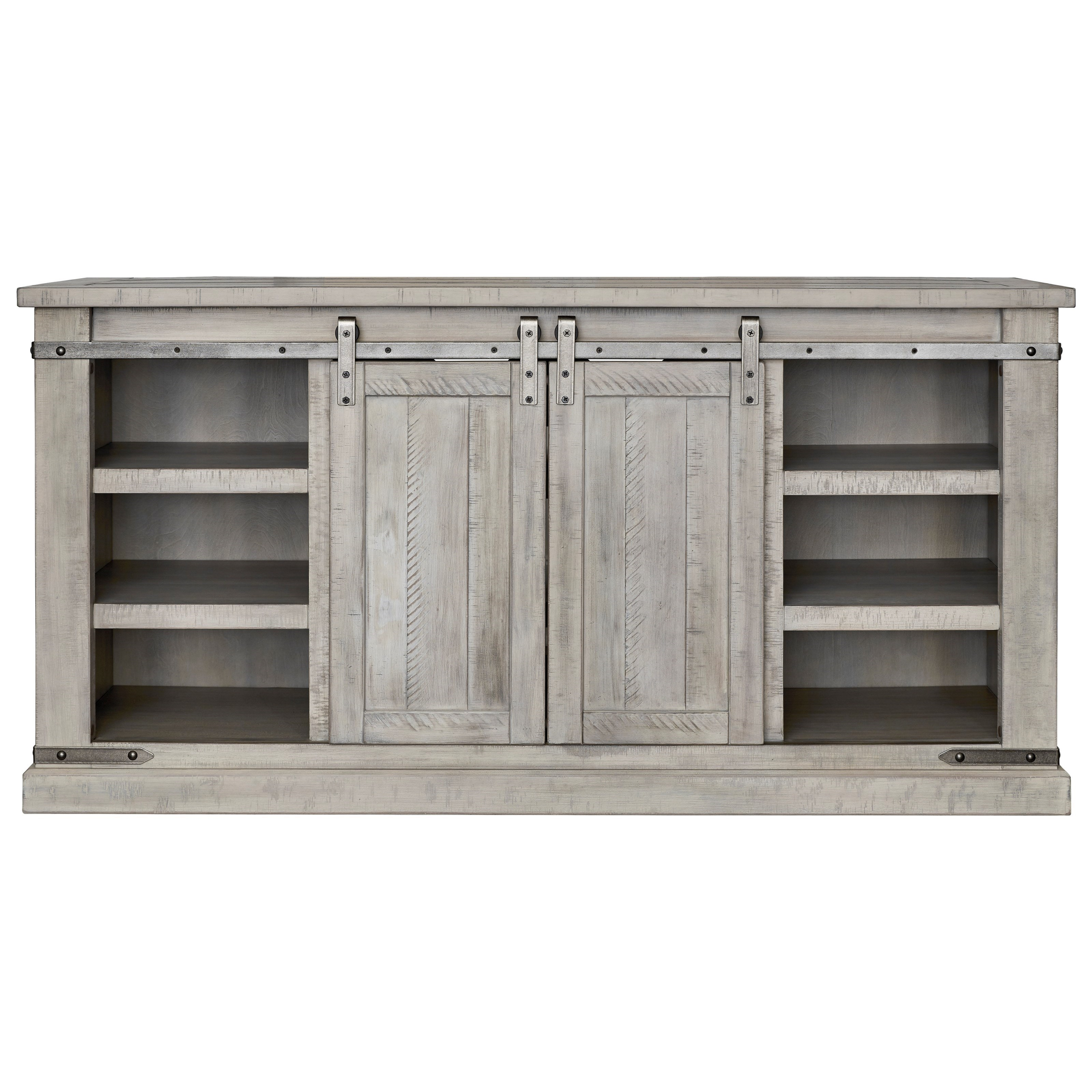 Huron Rustic White Large TV Stand With Barn Door Hardware By Signature  Design By Ashley At Rotmans