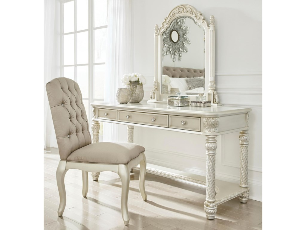 Signature Design by Ashley CassimoreVanity & Mirror Set w/ Upholstered Chair