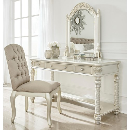 Signature Design by Ashley Cassimore Traditional Vanity & Mirror Set w/ Upholstered Chair