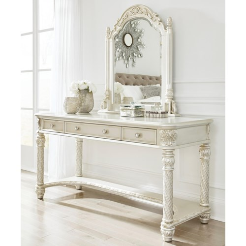Signature Design by Ashley Cassimore Traditional Vanity & Mirror in Silver Finish