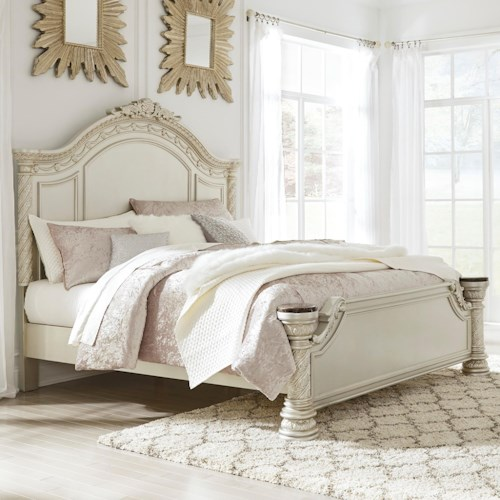 Signature Design by Ashley Cassimore Traditional King Panel Bed with Natural Marble Accents