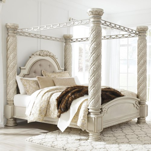 Signature Design by Ashley Cassimore Traditional California King Poster Canopy Bed with Large Posts