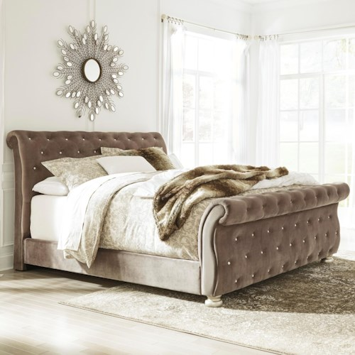 Signature Design by Ashley Cassimore California King Upholstered Sleigh Bed with Faux Crystal Tufting
