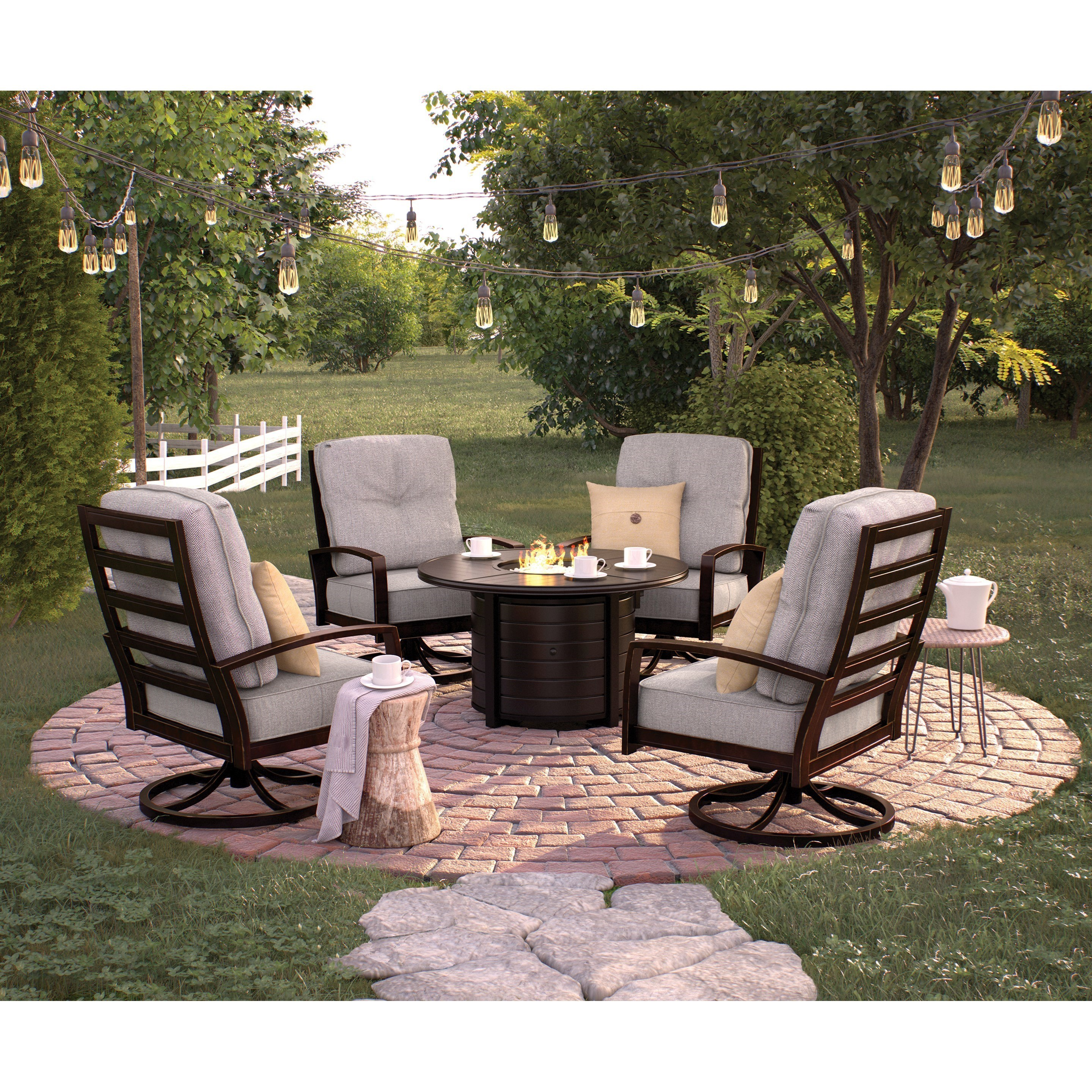 Signature Design By Ashley Castle Island Outdoor Conversation Set With Fire  Pit Table