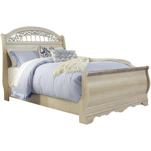 Signature Design by Ashley Catalina Traditional Queen Sleigh Bed with Metal Fretwork