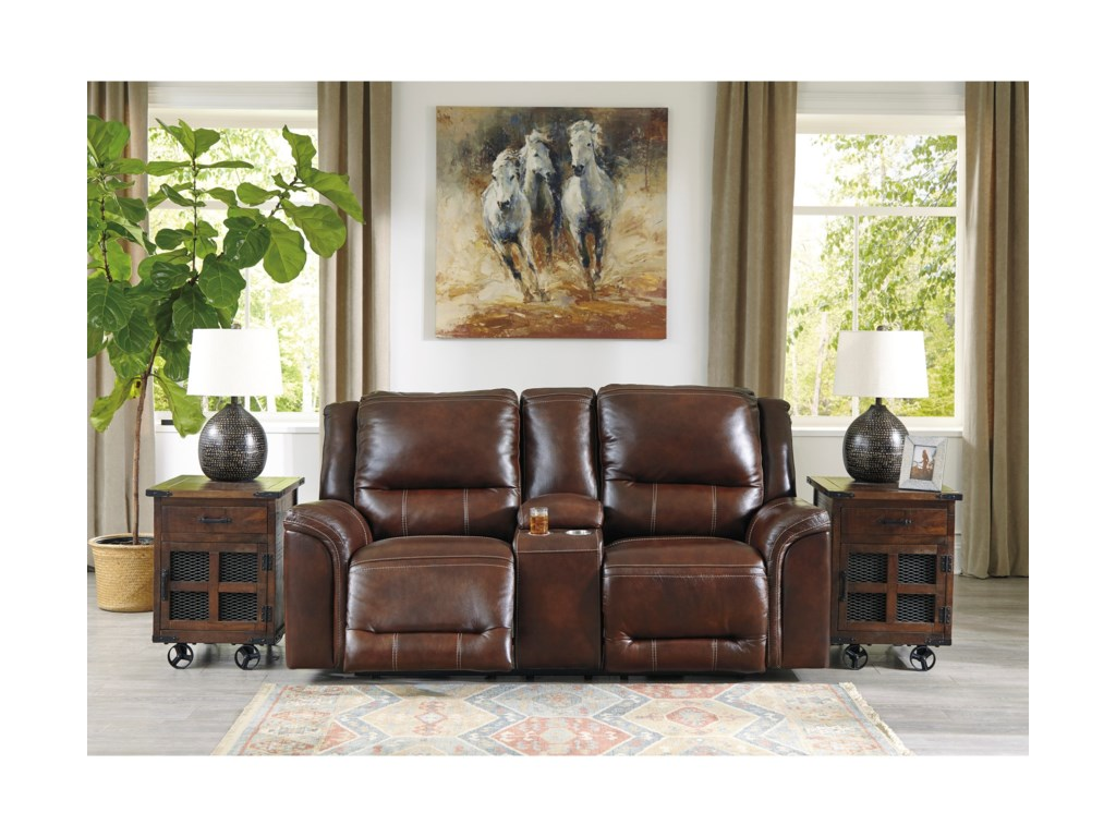 Signature Design by Ashley CatanzaroPower Reclining Console Loveseat