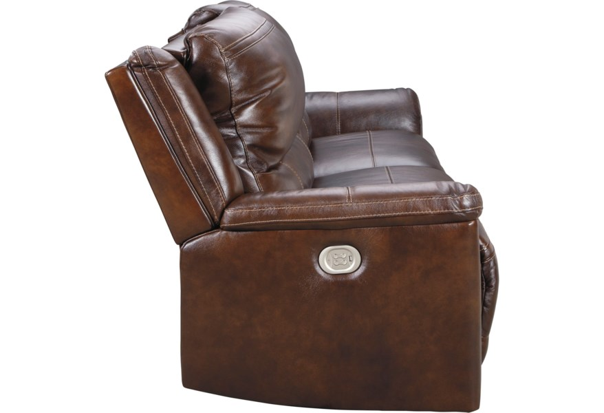 Catanzaro 2 Seat Power Reclining Sofa with USB Port and Adj Headrests by  Ashley Signature Design at Dunk & Bright Furniture