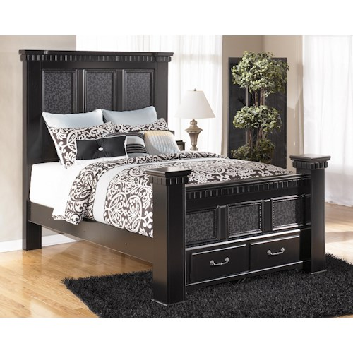 Signature Design by Ashley Cavallino Queen Mansion Poster Bed with Storage Footboard