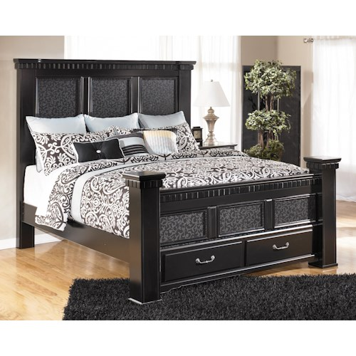 Signature Design by Ashley Cavallino California King Mansion Poster Bed with Storage Footboard