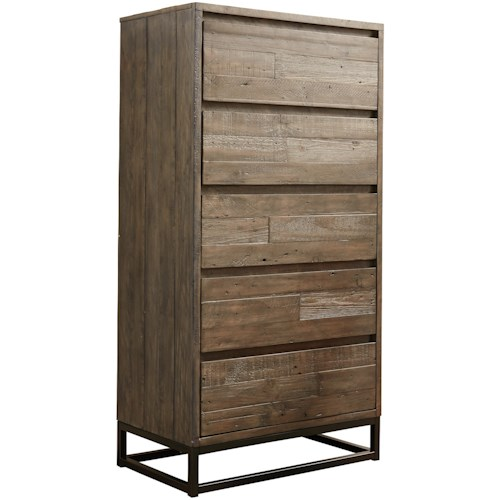 Signature Design by Ashley Cazentine Contemporary Five Drawer Chest with Metal Base