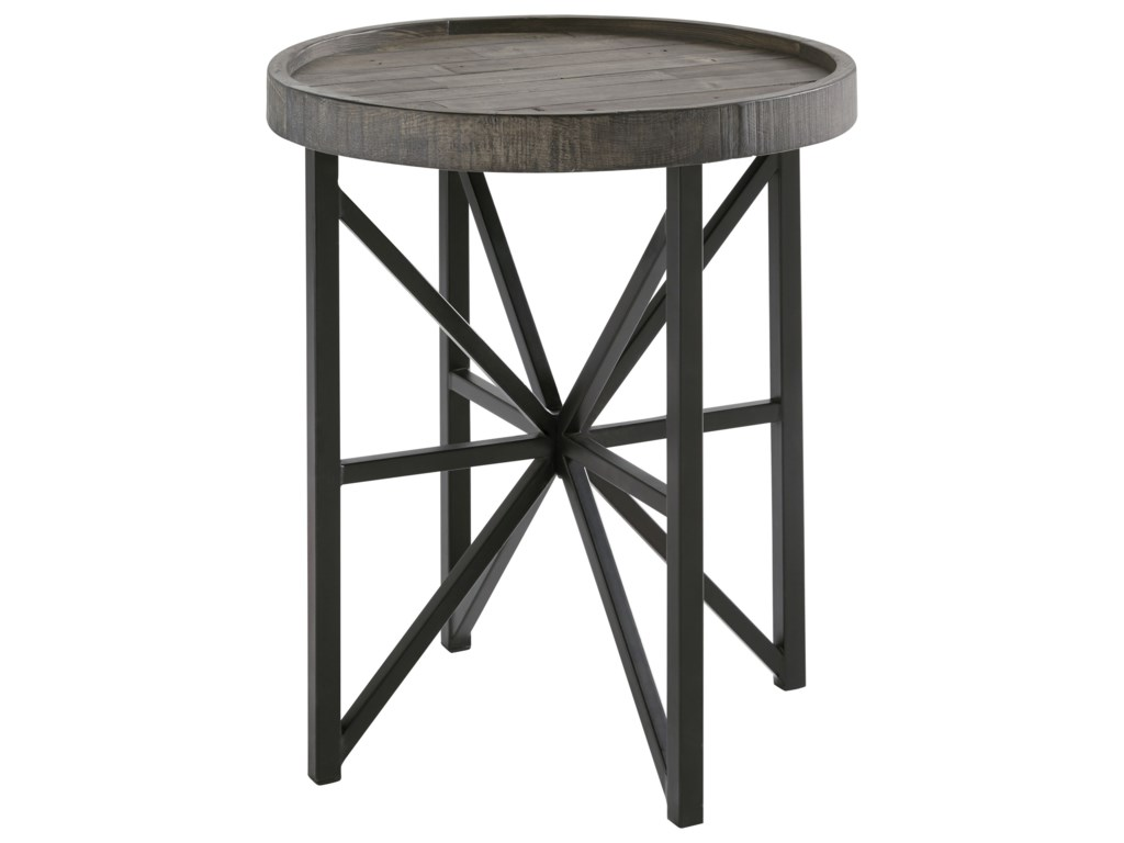 round american signature tables end room item distressed living pine product shortline table