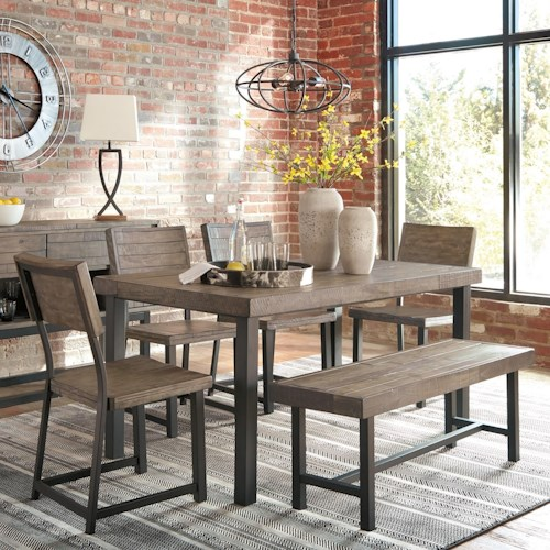 Signature Design by Ashley Cazentine Industrial Pine/Metal 6-Piece Table Set with Bench