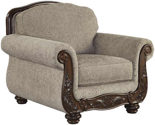 Signature Design by Ashley Cecilyn Traditional Chair with Showood Trim & Bun Feet