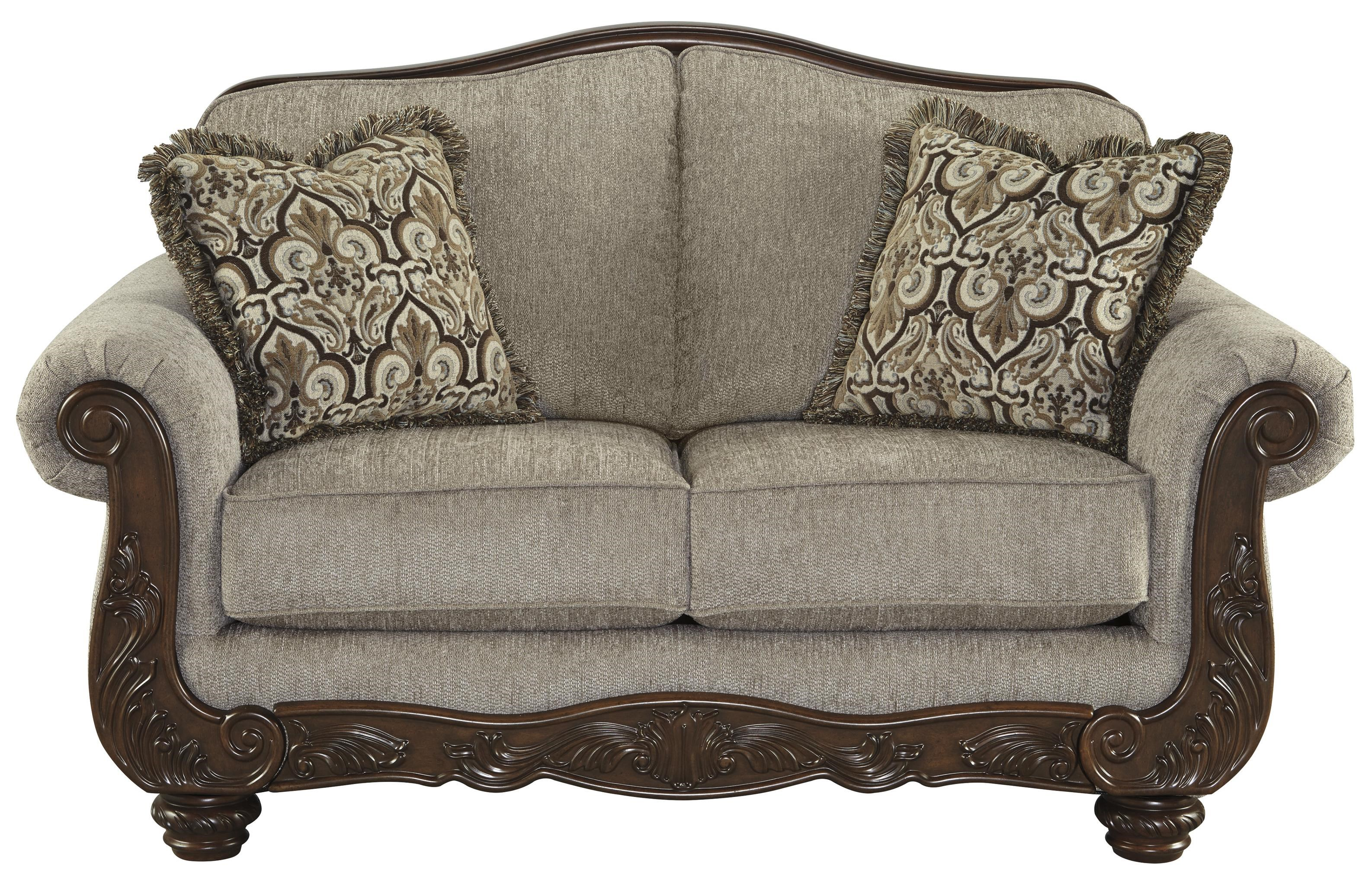 Exceptionnel Signature Design By Ashley Cedric Traditional Loveseat With Showood Trim U0026  Camel Back
