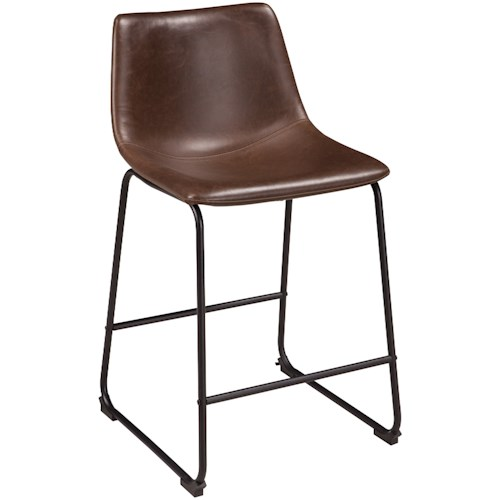 Signature Design by Ashley Centiar Contemporary Faux Leather Upholstered Barstool with Bucket Seat