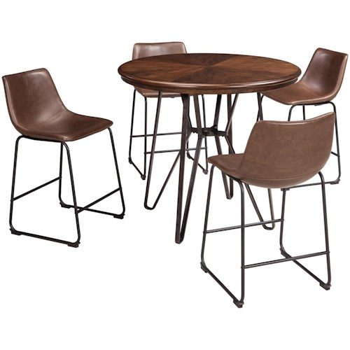 Signature Design by Ashley Centiar 5-Piece Round Counter Table Set