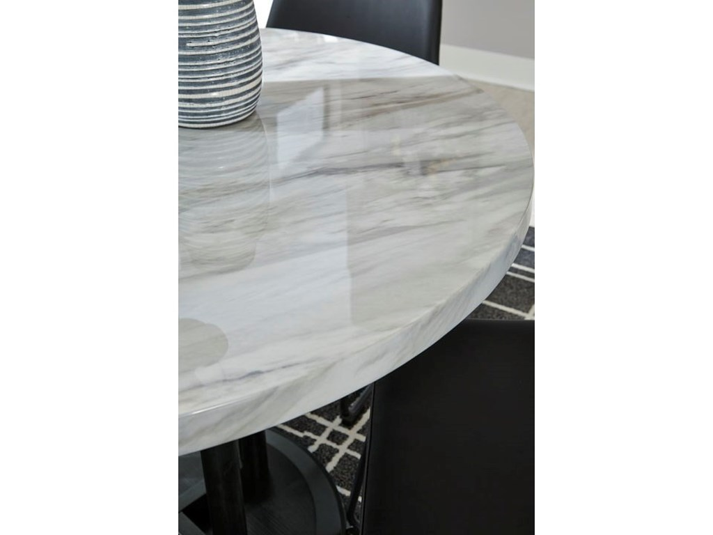 Signature Design By Ashley Centiar Round Dining Room Table With Faux Marble Top Royal Furniture Kitchen Tables