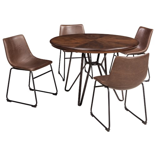 Signature Design By Ashley Centiar 5 Piece Round Dining Table Set Standard Furniture Dining