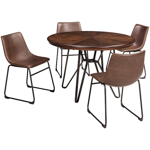Signature Design by Ashley Centiar 5-Piece Round Dining Table Set