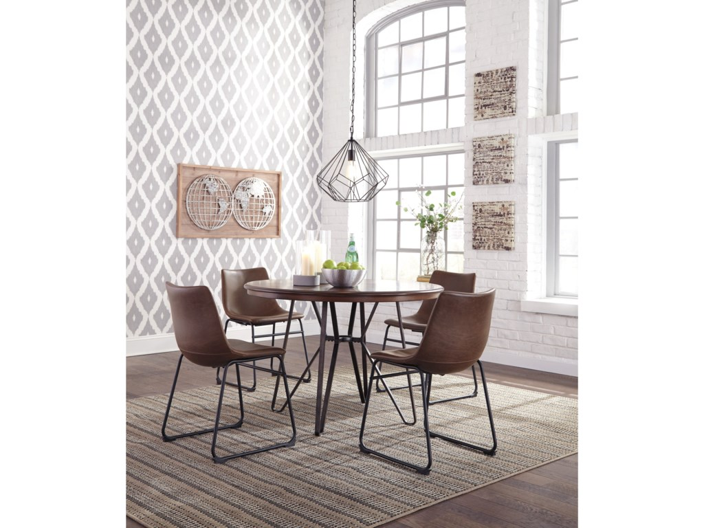 Signature Design by Ashley Centiar 5-Piece Round Dining Table Set ...