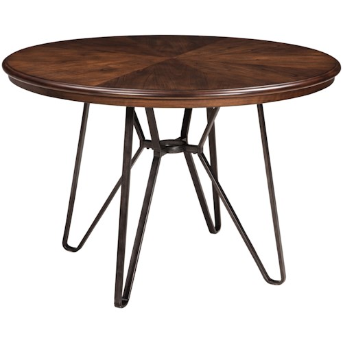 Signature Design by Ashley Centiar Round Dining Room Table with Metal Hairpin Legs