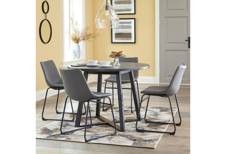 Ashley Signature Design Centiar D372 16 4x08 5 Piece Round Dining Table Set With Gray Faux Leather Chairs Dunk Bright Furniture Dining 5 Piece Sets