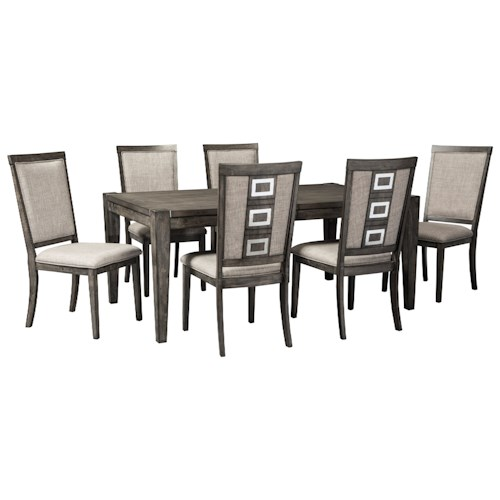 Signature Design by Ashley Chadoni 7 Piece Contemporary Rectangular Table and Chair Set with Removable Leaf