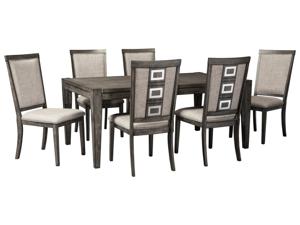 Signature Design by Ashley Chadoni7 Piece Contemporary Rectangular Table Set