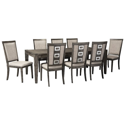 Signature Design by Ashley Chadoni 9 Piece Contemporary Rectangular Table and Chair Set with Removable Leaf