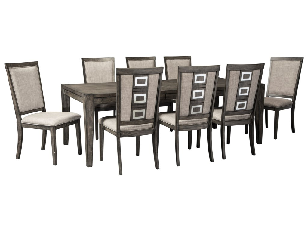 Signature Design by Ashley Chadoni9 Piece Contemporary Rectangular Table Set
