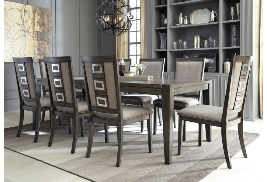 Signature Design By Ashley Chadoni 9120524 Contemporary Rectangular Dining Table With Removable Leaf Pilgrim Furniture City Dining Tables