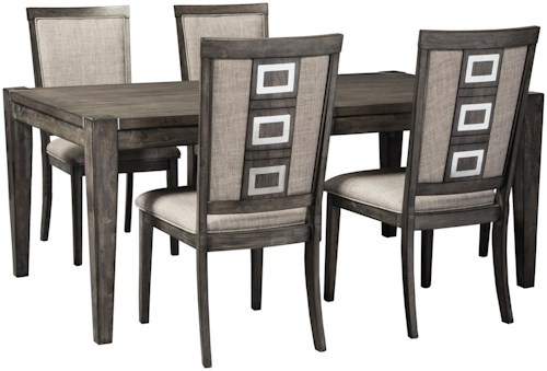 Signature Design by Ashley Chadoni 5-Piece Contemporary Rectangular Table and Chair Set