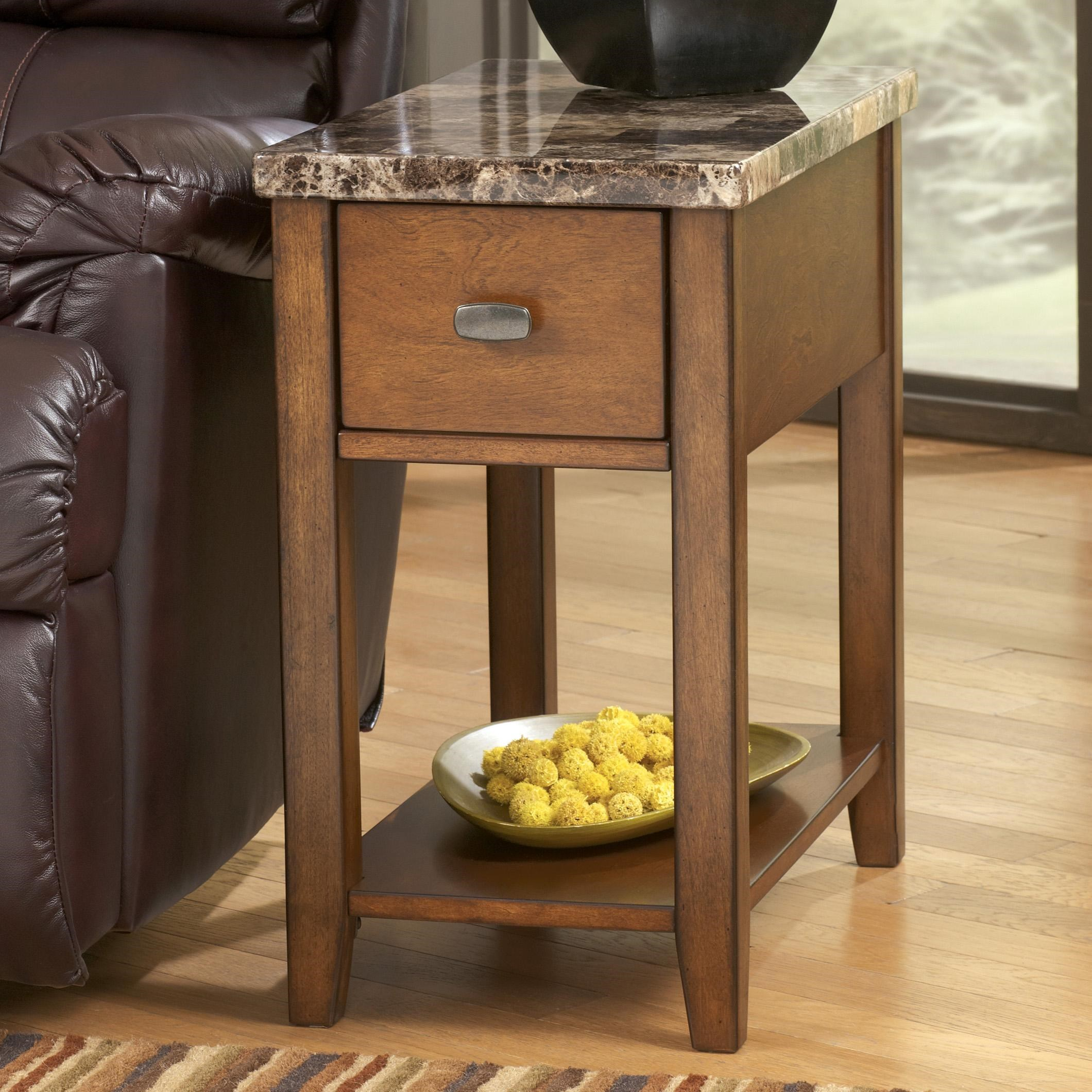 Signature Design By Ashley Breegin Medium Brown Theo Chairside End Table  With Marble Like Top