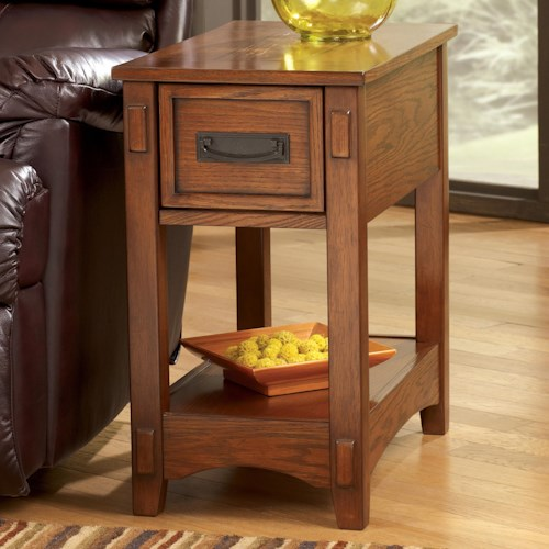 Signature Design by Ashley Breegin Brown Mission Cross Island Chairside End Table with Slide Board