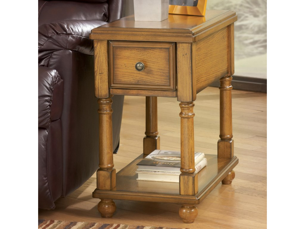 Breegin Contemporary Brown Holfield Chairside End Table With Drawer And Shelf By Signature Design By Ashley At Gill Brothers Furniture