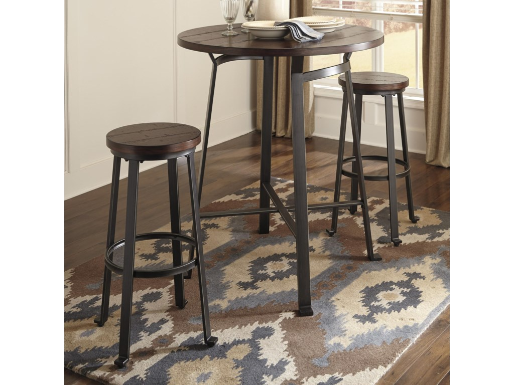 Signature Design by Ashley Challiman 3-Piece Round Bar Table Set ...