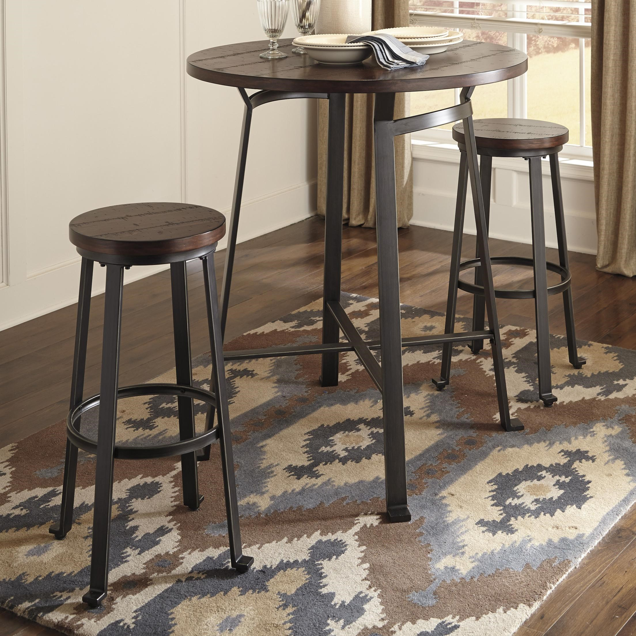 signature design by ashley challiman 3piece round bar table set household furniture pub table and stool set