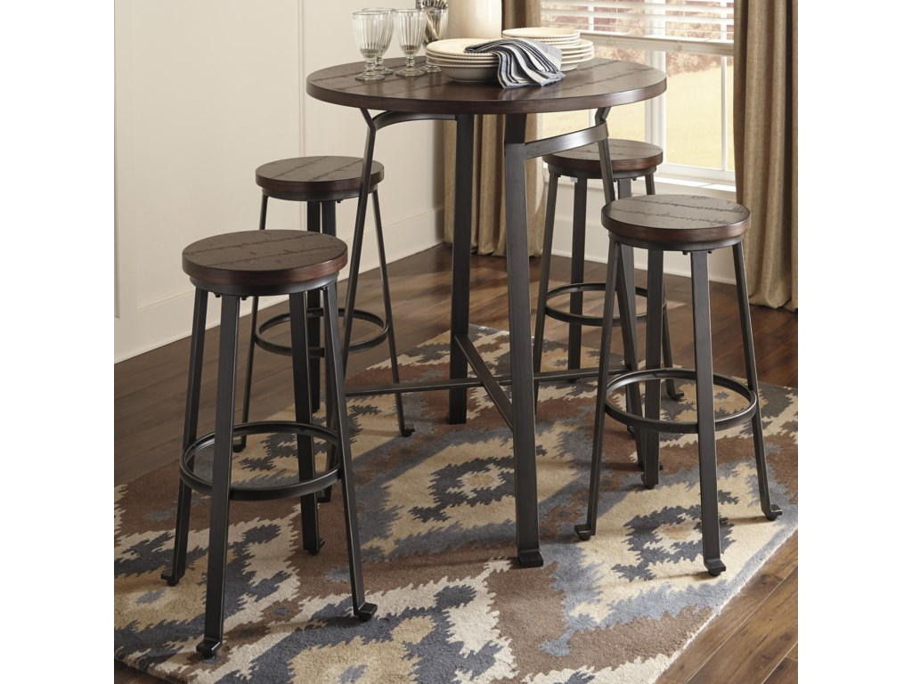 Ashley Signature Design Challiman5 Piece Round Bar Table Set