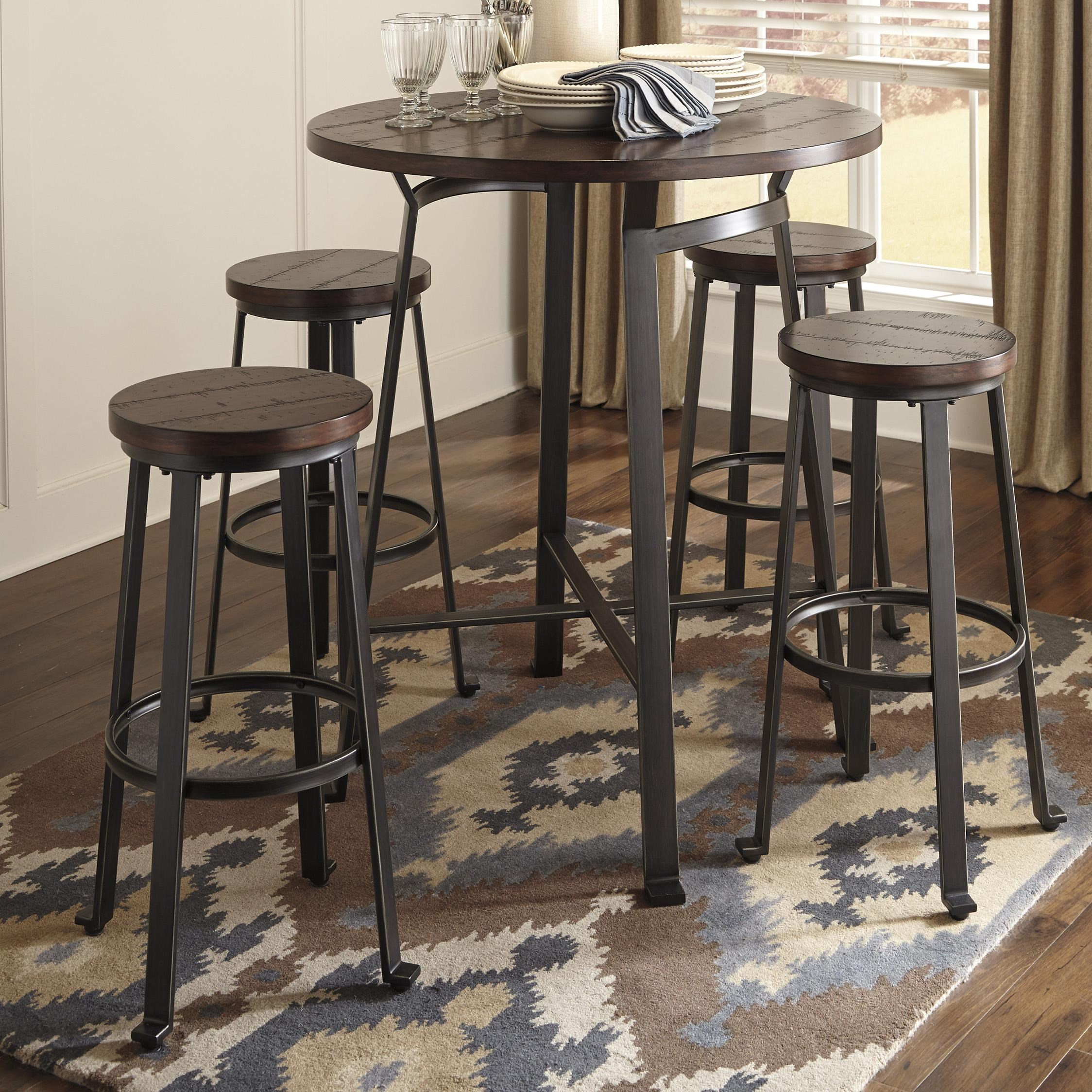 ashley signature design challiman 5piece round bar table set dunk u0026 bright furniture pub table and stool set