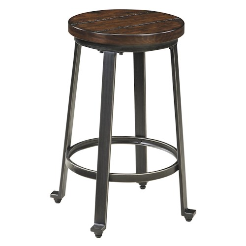 Signature Design by Ashley Challiman Industrial Style Armless Stool