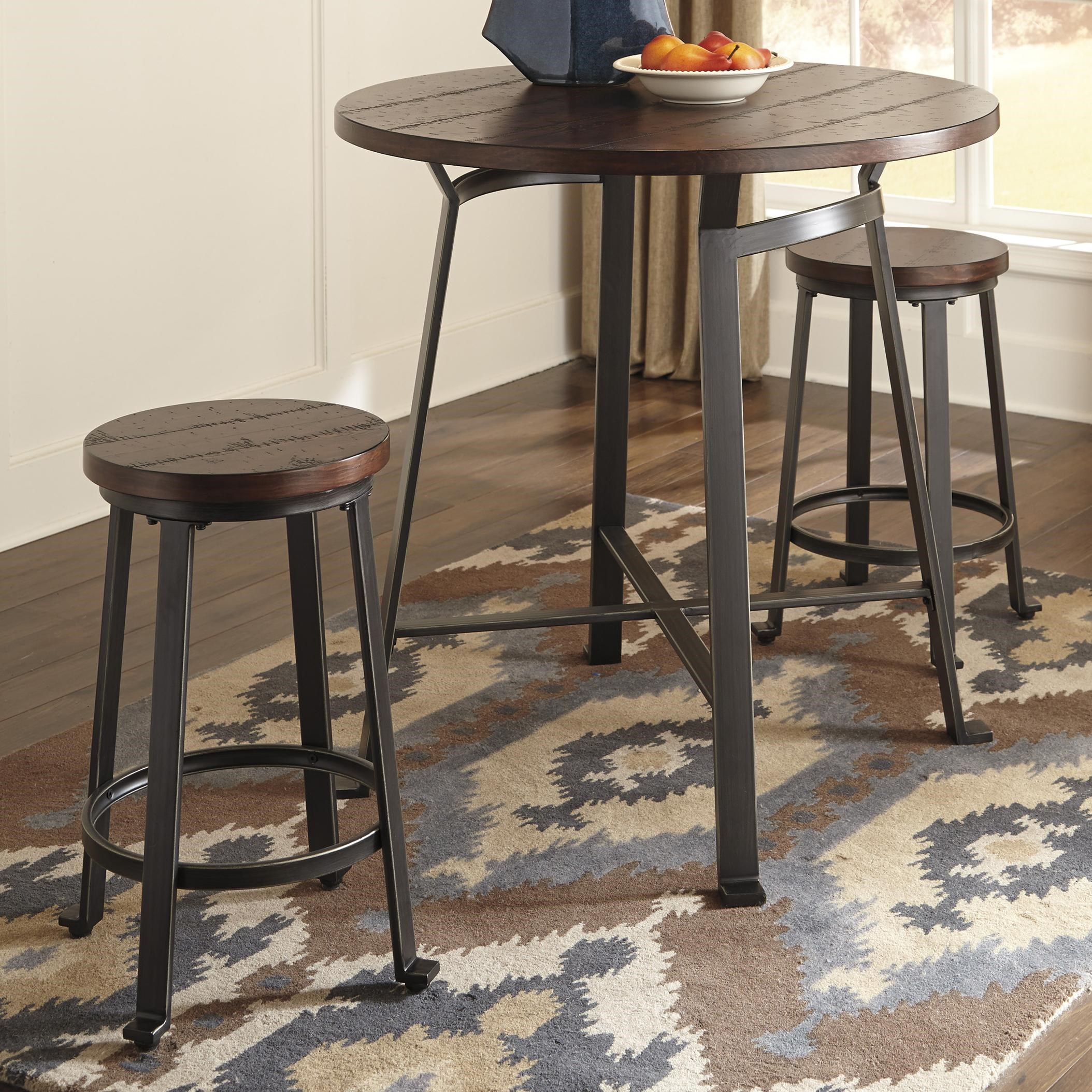 Signature Design By Ashley Challiman 3 Piece Round Counter Table Set