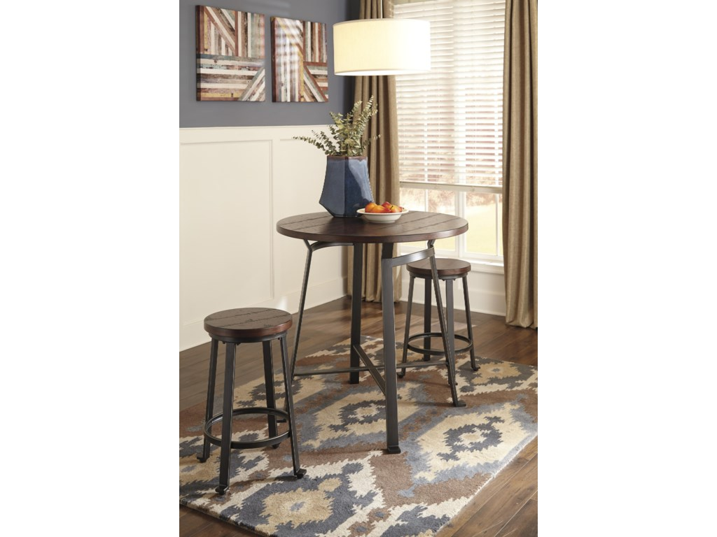 Signature Design by Ashley Challiman3-Piece Round Counter Table Set