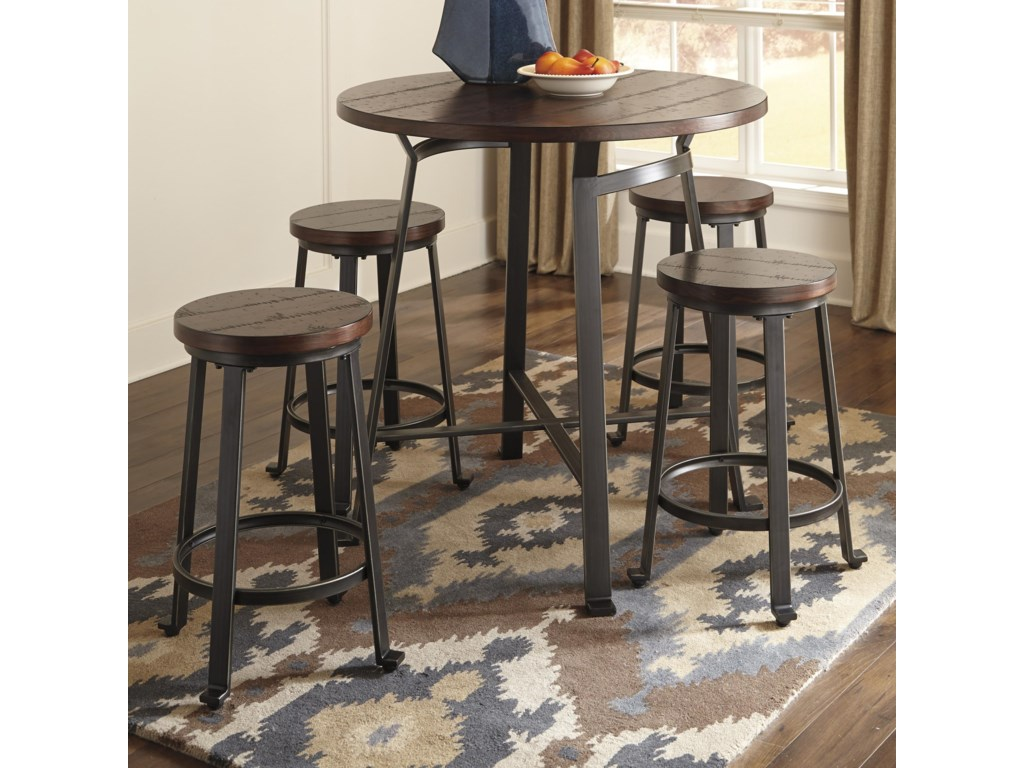 Signature Design by Ashley Challiman5-Piece Round Counter Table Set