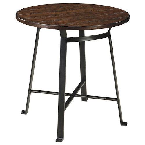 Signature Design by Ashley Challiman Industrial Style Round Dining Room Counter Table